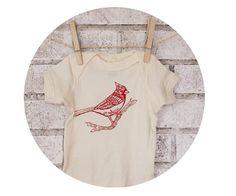 Organic Cardinal Baby Onepiece Winter Bird by CausticThreads, $20.00
