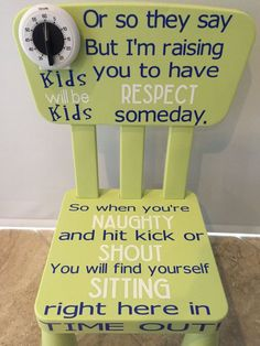 Gender Neutral Time Out Chair by BusseyWreaths on Etsy