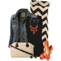 9XIS Women's Distressed Back Cropped Denim Jacket with nude/black chevron maxi skirt, black tank, and orange accessories