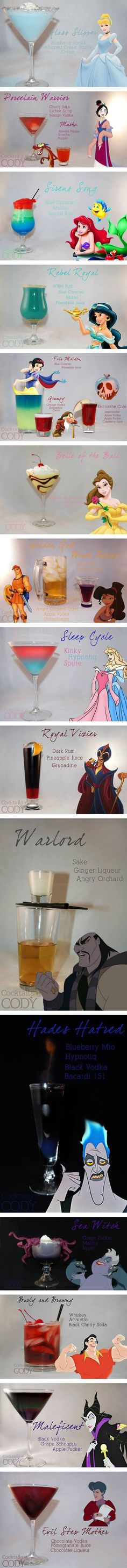 Disney Princess-Themed Cocktails, yes! Shatz Eggers Cody of Cocktails by Cody has mixed up a collection of cocktails inspired by Disney Princesses plus some Disney villains for good measure. Disney Cocktails, Cocktail Disney, Fun Cocktails, Party Drinks, Cocktail Drinks, Cocktail Recipes, Comida Disney, Alcohol Drink Recipes, Alcohol Shots