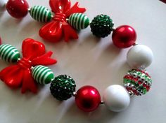 Christmas Chunky Necklace by theOrangeCupcake on Etsy, $14.50