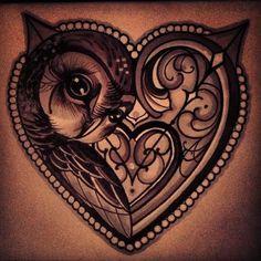 Feminine Owl Tattoos   owl-tattoo-heart