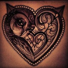 Feminine Owl Tattoos | owl-tattoo-heart