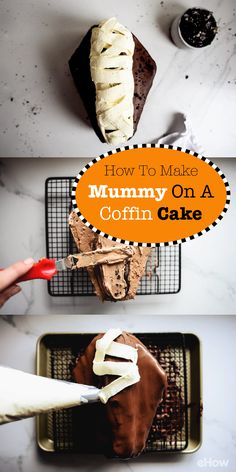 how to make a mummy on a coffin cake halloween celebrationhalloween food for partyhalloween
