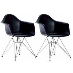 Eames Style Arm Chair with Metal Legs (Set of 2)