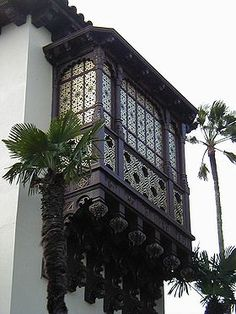Egyptian style Mashrabiya. Now the lattice work is seen in projecting windows inclosed with carved wood and stained glass.