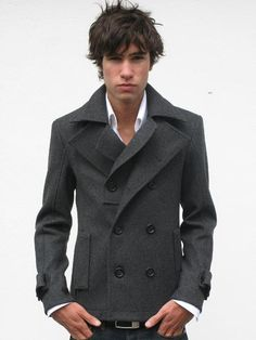 Shop this look for $153:  http://lookastic.com/men/looks/white-dress-shirt-and-grey-pea-coat-and-black-belt-and-navy-jeans/511  — White Dress Shirt  — Grey Pea Coat  — Black Leather Belt  — Navy Jeans