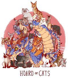 Unusual dragon hoards hoard of cats Dragon Hatchling Egg Baby Babies Cute Funny Humor Fantasy Myth Mythical Mystical Legend Dragons Wings Sword Sorcery Magic Art Fairy Maiden Whimsy Whimsical Drache drago dragon Дракон drak dragão Art And Illustration, Illustrations, Magical Creatures, Fantasy Creatures, Chibi, Cute Dragons, Drawing Skills, Drawing Ideas, Dragon Art