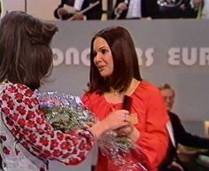 Anne Marie David, winner of the Eurovision Song Contest 1973 with previous year winner Vicky Leandros