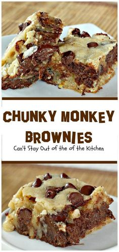 Chunky Monkey Brownies You will swoon over these rich, decadent brownies filled with chocolate baking melts, chocolate chips and bananas. Ooey, gooey and delicious! Course Cookies, Brownies and Bars Brownie Desserts, Best Chocolate Desserts, Brownie Recipes, Just Desserts, Delicious Desserts, Yummy Food, Gourmet Desserts, Mint Chocolate, Yummy Snacks