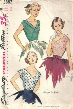 Simplicity 3882 Vintage 50s Sewing Pattern Blouse Size 14 Bust 32