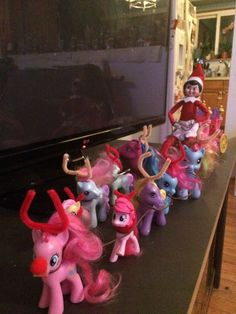 Day18 - Candy turned the ponies into reindeer. Elf on the shelf