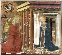 Annunciation, 1393, Ilario da Viterbo, Umbria Italy, one portion of 6