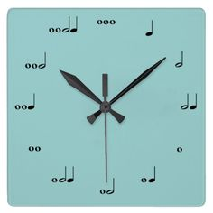 "This clock tells time in rhythm.  Each number is represented by notes that make up the appropriate number of beats.  Great for music-lovers, teachers, and kids learning how to read music!    Customize the background color under the ""Edit"" tab to make this clock coordinate with any room.  Visit my store for other color choices as well as more great designs!"