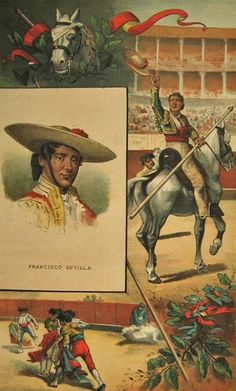 Vintage La Lidia  Bullfighting Print - Bullfighter Francisco Sevilla - 1883