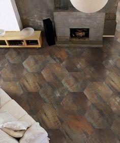 2012 Tile Trends Porcelain Wood Tile Flooring Shown in a Honeycomb Pattern. Classy Living Room, Eclectic Living Room, Living Room Designs, Living Spaces, Diy Design, Design Ideas, Eclectic Tile, Italian Tiles, Radiant Floor