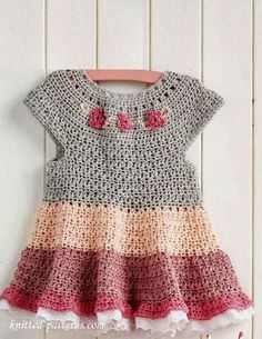 By dailycrochet - July 28th, 2016 Such a gorgeous little dress and it's so perfect for summer! This cute tiered dress for girls is worked top down in one piece and seamed up the back, leaving an ...