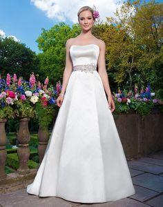 Sincerity wedding dress style 3872 Satin A-line emphasized by a strapless neckline.