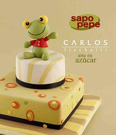Sapo verde by Carlos Lischetti Pretty Cakes, Cute Cakes, Beautiful Cakes, Amazing Cakes, Fondant Cakes, Cupcake Cakes, Frog Cakes, Funny Cake, Character Cakes