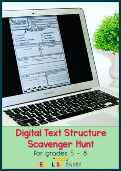 This DIGITAL TEXT STRUCTURE SCAVENGER HUNT can be used for ANY informational text, and it is ready to be assigned in Google Classroom for distance learning! This is perfect for your middle school English Language Arts classroom, and it will have your students hunting through the text!