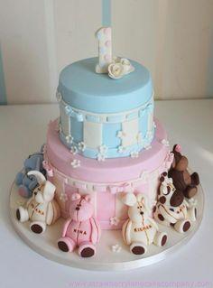 Joint 1st Birthday Animal Cake