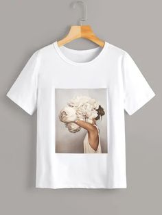 Figure floral print graphic tees women summer casual white t shirt round neck short sleeve tshirt ladies tops Photo Vintage, Latest T Shirt, T Shirts For Women, Clothes For Women, Women's Clothes, Printed Tees, Direct To Garment Printer, Shirt Style, Casual