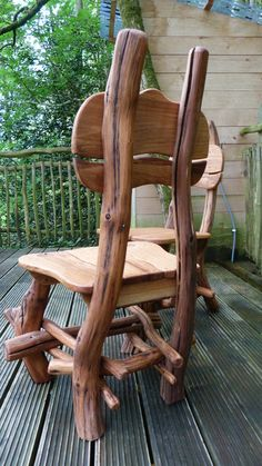Bespoke Oak Woodland Dining chair by MerlinsCraft on Etsy