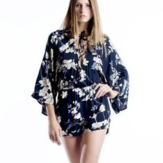 """X """"Geisha"""" Lace Up Floral Kimono Romper Navy blue romper with cream florals and a beautiful lace up front. Brand new with tags. True to size. This is an actual pic of the item - all photography done by me. PRICE IS FIRM. ABSOLUTELY NO TRADES. Bare Anthology Pants Jumpsuits & Rompers"""