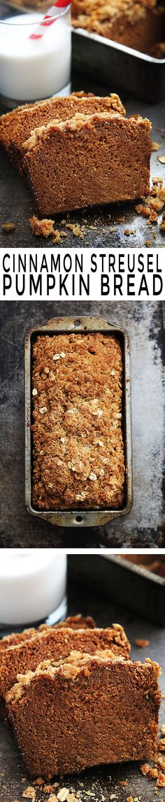 Soft and moist pumpkin bread topped with cinnamon oat streusel.