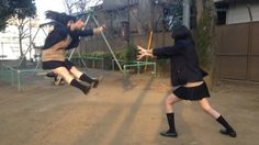 Latest Japanese Schoolgirl Trend: Fake Dragon Ball Attacks  I love this idea.