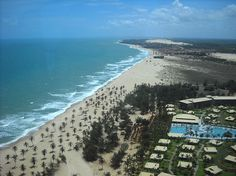 CEARÁ (capital Fortaleza) - Aerial view of Cumbuco beach, the Vila Gale Resort on the right.