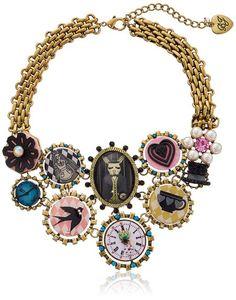 "Betsey Johnson ""Wonderland"" Mixed Charm Statement Necklace14''+3'' Extender"