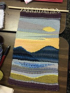 Learning the basics of tapestry weaving: Foundations Tapestry Retreat 2019 2019 Sarahs landscape weaving. The post Learning the basics of tapestry weaving: Foundations Tapestry Retreat 2019 2019 appeared first on Weaving ideas. Weaving Loom Diy, Paper Weaving, Weaving Art, Weaving Patterns, Weaving Designs, Loom Weaving Projects, Stitch Patterns, Knitting Patterns, Weaving Textiles