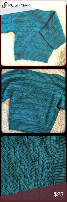 Beautiful Teal Sweater w Tiny glitter throughout Beautiful super soft sweater by a.n.a.  The knit is a thicker soft Knit with tiny small glitter throughout the sweater. It is sparingly done and very beautiful without being overly sparkling. Beautiful larger arms that create a very classy look. This sweater is in good condition and ready to wear! Enjoy my Posher friends! a.n.a Tops