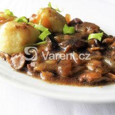 Dušená houbová směs s cibulí a slaninou recept - Vareni.cz Beef, Food, Meat, Essen, Meals, Yemek, Eten, Steak