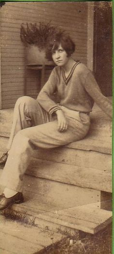 Woman lounging in trousers c.1920s