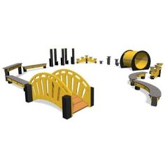 Curved Balance Beams. A great range of playground agility equipment for children.