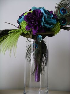 15pc COUTURE Peacock Feather  WEDDING Flower Set  in Purple, Lime Green and Turquoise. $525.00, by www.BloomedtoLast.com on Etsy.