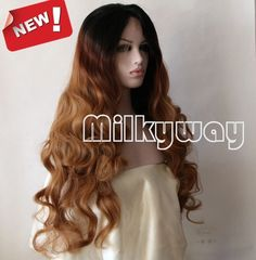 Free shipping black brown ombre front lace wig two tone natural wavy celebrity heat resistant synthetic lace front wig