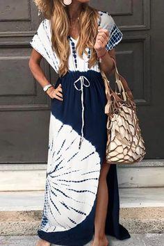 Print V Neck Drawstring Maxi Dress – moontica Sexy Maxi Dress, Slit Dress, Maxi Dress With Sleeves, The Dress, Maxi Dresses, Tie Dye Outfits, Types Of Skirts, Navy Blue Dresses, Blue Maxi