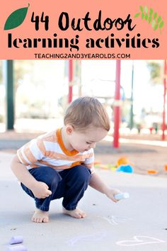 Here are 44 super fun preschool outdoor learning ideas that will encourage hands-on exploration and fun. Everything from sensory to literacy to science and much more! #preschool #outdoors #learning #nature #exploration #outside #activities #AGE3 #AGE4 #teaching2and3yearolds Outdoor Games For Preschoolers, Art Activities For Toddlers, Activities For 2 Year Olds, Summer Activities For Kids, Preschool Activities, Nature Activities, Preschool Playground, Preschool Curriculum, Fun Outdoor Games