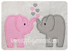 Love Elephants Applique Design