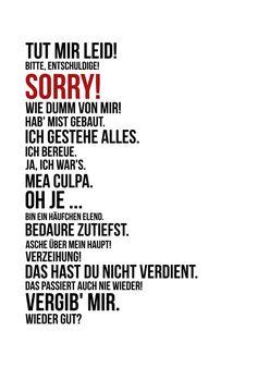 """Die Persönliche Note: """"Sorry!"""" - """"Tut mir leid!"""" - Humorvolle Karte, um Entschuldigung zu sagen"""