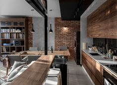 45 ideas for house interior kitchen exposed brick Loft Design, Küchen Design, Design Ideas, Modern Kitchen Design, Interior Design Kitchen, Brick Interior, Casa Loft, Brick And Wood, Brick Walls