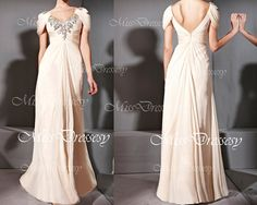 Cap Sleeves Straps V Neck with Crystal Chiffon Champagne Long Evening Dress, Wedding Party Dress, Prom Gown, Evening Gown, Formal Gown