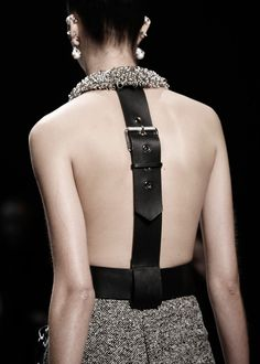 Dress back detail with black leather belt buckle strap; fashion details // Balenciaga Fall 2015