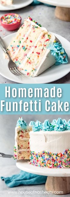 Ditch the box mix and make this super moist, from scratch, Homemade Funfetti Cake recipe (also known as confetti cake) for the next birthday or festive occasion in your life! recipes easy homemade Homemade Funfetti Cake From Scratch - House of Nash Eats Cake Recipes From Scratch, Cake Mix Recipes, Cupcake Recipes, Dessert Recipes, Best Birthday Cake Recipe From Scratch, Confetti Cupcake Recipe From Scratch, Easy Vanilla Birthday Cake Recipe, Confetti Birthday Cake Recipe, Frosting Recipes