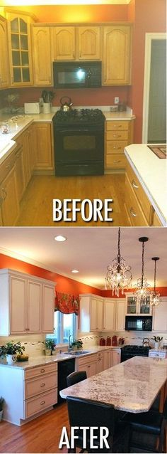 Kitchen Makeover orange paint kitchen makeover - These 10 kitchen decor ideas for your mobile home rental will help you update your home without spending a lot of money or making permanent changes. Redo Kitchen Cabinets, Kitchen Paint, Kitchen Redo, Kitchen Design, White Cabinets, Kitchen Ideas, Wood Cabinets, Kitchen Interior, Remodeling Mobile Homes
