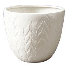 white planter with modern leaf pattern (@ Lowes)