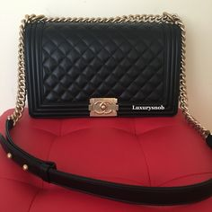 30a495d8585b Chanel Le Boy Black Lambskin with Gold Hardware Luxurysnob.com